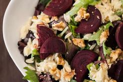Roasted Beet Blue Cheese Orzo Walnut Salad