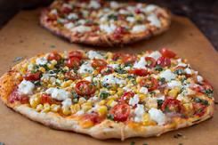 Cherry Tomato, Corn, & Goat Cheese Pizza